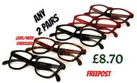 2 Pairs Geek/Nerd Large Framed Fashion Retro Reading Glasses in 5 Colours 9130