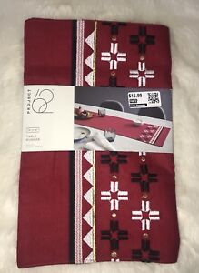 """NWT PROJECT 62 RED EMBROIDERED TABLE RUNNER 14 X 72"""" RED LINEN COTTON BLEND"""