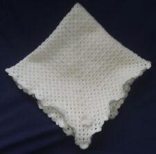 """BAXTER'S BABY BLANKET. White Handmade Crochet. Cot, Pram, Moses Basket. 25""""x25""""."""