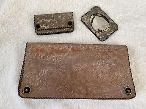 Vintage Art Deco 1930s Ladies Lizard Skin Clutch Bag Handbag With Purse & Mirr