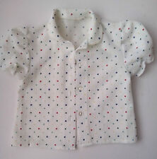 Sweet short sleeve Blouse with collar  White with primary coloured spots Vintage