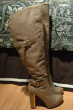 Guess Vale High Heel Boots Leather Camel Tan Vale 9.5