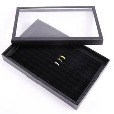Velvet 100 Ring Jewellery Storage Box Display Tray Organiser Holder Case Tidy