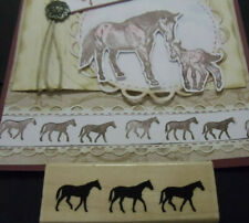 Rubber stamp Yeehaw Horses / Pony Border for cards memory books Mom's Day Dad