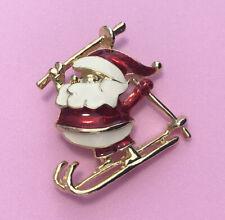 Skiing Santa Claus Christmas Brooch Holiday Pin Enamel Gold Tone 1.5� Cute
