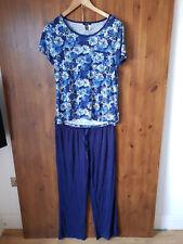 RRP $78 CAROLE HOCHMAN MODAL JERSEY PJ'S Blue Print Pyjamas S / 8-10 / 36-38 NEW