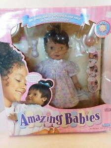 NIB New Playmates Amazing Babies Dark Skin Interactive Doll Brown Eyes Year 2000