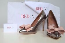 Authentique Red Valentino Heels 37 Shoes Handmade Italy Leather Bow Silver Pink