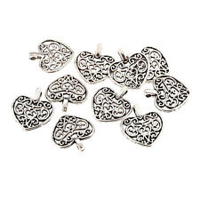 10pcs Heart Pattern Beads Charms Tibetan Silver Pendant DIY Bracelet 16*15mm New