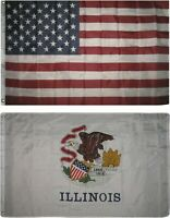 Wholesale Combo Lot of 3x5 USA Flag & State of  Illinois 3x5 2 Flags Banner