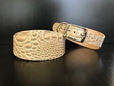 Gran Collar de Perro de Cuero Lurcher Galgo Whippet Saluki Beige Patrón De Reptil