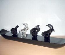 Baccarat Crystal Noah's Ark Set of 4 Animal Figurines on Black Ark Display Stand