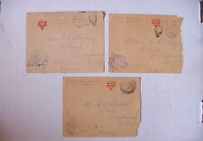 (3) Covers 1918-19 AEF Censor Stamps ~ Military Mail Sent TO: Chico, CA