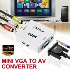 Mini Vga to Av Converter 1080P Vga to Rca Audio Video Adapter Converter New Us