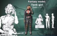 1/16 Resin Figure Model Kit German Army Sexy Girl Tank WWII Unassamble Unpainted