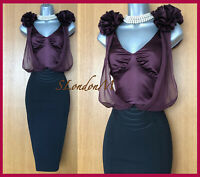 KAREN MILLEN UK 12 Black Aubergine Corsage Wiggle Cocktail Races Occasion Dress
