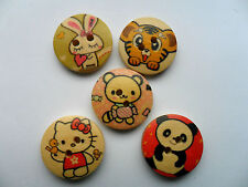 20pcs Hello Kitty/LOVE RABBIT & AMIS bois scrapbooking/couture boutons