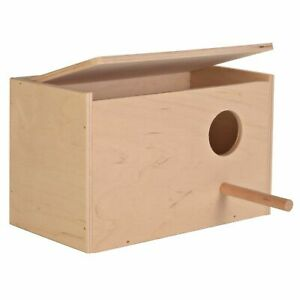 Trixie Wooden Bird Egg Nesting Box Budgie Aviary with Hindged Lid, Landing Perch