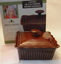 New Paula Deen 2qt Stoneware Square Casserole w/ Lid NIB Mirror Brown Ribbed