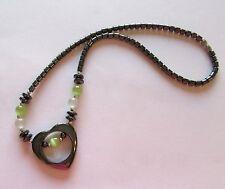 Fashion Necklace -Hematite- heart pendant green & white  beads-gray shade