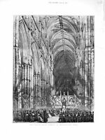 Original Old Antique Print 1872 Passion-Music Service Westminster Abbey London