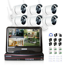 8CH Wireless IP Camera System 10.1 LCD 1.0MP Security HD Network IP NVR Wifi Kit