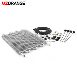 8 Row Universal Aluminum Remote Transmission  Oil Cooler Radiator Converter Set