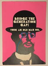 Vintage Poster Bridge The Generation Gap Turn Old Man On 1960's Hallmark Hat