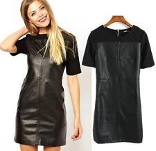 2017 WOMEN OL spring black pu leather back zip short sleeve DRESS Oversized
