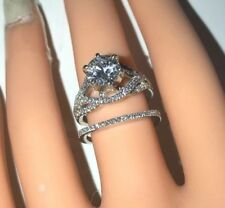 Platinum 1.83ct Real Diamonds & Moissanite Engagement Ring Wedding band Set