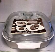 VINTAGE CORNING WARE MICROWAVE BROWNER A-10  COVERED SAUCEPAN -2 QUARTS-10""