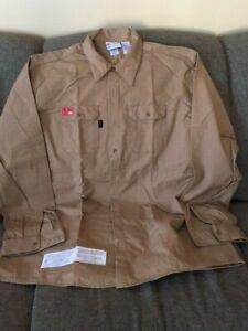 Men's G&K Services Protect FR Khaki Shirt - Size L-LN Long Sleeve