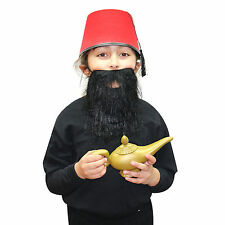 244be8f22970d Kids or Adults 3pc Fancy Dress - Fez + Black Beard + Genie Lamp Panto Prop