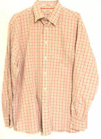 Faconnable Mens Shirt XL Pink White Checkered Long Sleeve