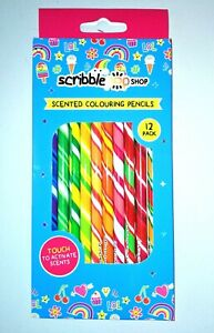 12 SCENTED COLOURING RAINBOW PENCILS BACK TO SCHOOL SCRIBBLE POP SHOP KIDS GIFT