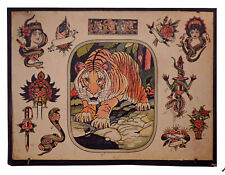 "Vintage Tattoo Flash (Print)- ""Tiger"" by Milton Zeis"