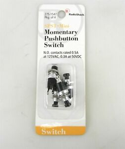 Radio Shack 275-1547 SPST-Mini Momentary Pushbutton Switch (Pack of 4) ~NOS~ S23