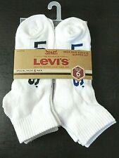 Levi's Mens Quarter Cut Cushion Socks Pack of 6 Size 6-12 White Blue Red Logo
