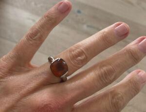 Ring Citrin 6,05 ct Weißgold Gr. 54