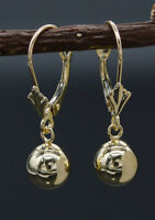 JM151 14K Solid Yellow Gold 7mm Puffed Round Ball Leverback Drop Earrings