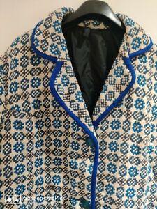 "Vintage 100% Pure Wool VRJ Welsh Tapestry Jacket Coat 14-16 (pit to pit 22"")"