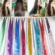 """40"""" Holographic Rainbow Glitter Hair Tinsel Extensions Clubbing DIY Hair Style"""