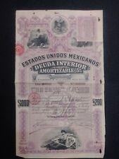 1898 Mexican Bond - Purple Lady Bond - Series J