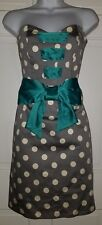 Judith March gray dot turquoise satin lace up corset bow strapless dress S