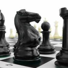 Quadruple Weight Tournament Natural Chess Set With Black Vinyl Board