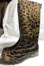 "Boots Size 6M Unbranded 14""T Brown Black Leopard Print Waterproof Muck PVC"