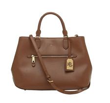 Ralph Lauren Newbury Saffiano Leather Sabine Medium Satchel Tote Bag Polo Tan