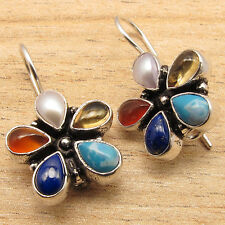 Natural MULTI COLOR Gems FLOWER STYLE Handmade Design Earrings 925 Silver Plated
