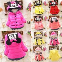 Toddler Kids Girl Mickey Minnie Hoodie Coat Jacket Winter Warm Thicken Outerwear