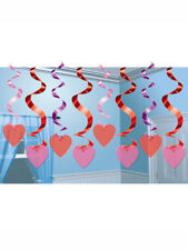 Valentine's Day Love Heart Foil Hanging Swirl Ceiling Party Decorations 15 Pack